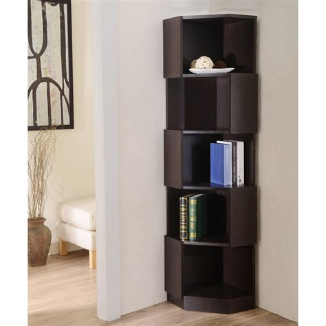 furniture of america laina geometric espresso 5 shelf corner bookshelf bookcases at hayneedle