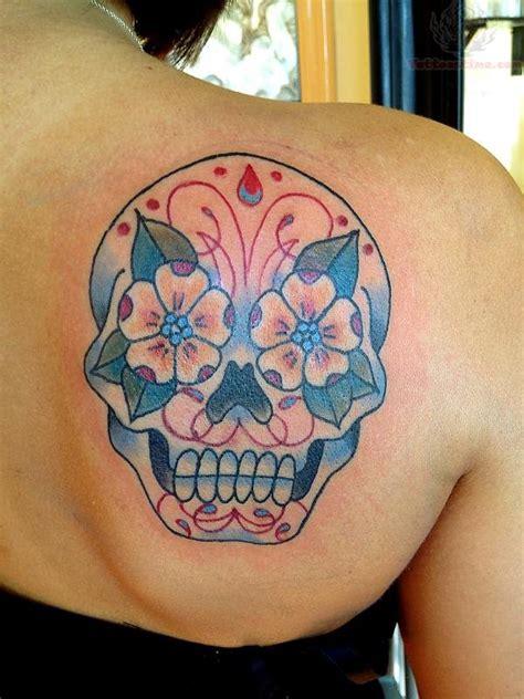 sugar skull shoulder tattoo sugar blue sugar skull on back shoulder