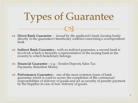 Sle Of Letter Of Guarantee To Bank Guarantees And Co Acceptance