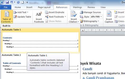 cara membuat format daftar isi word cara mudah membuat daftar isi atau table of contents
