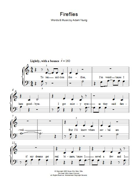 Letter Piano Notes For Fireflies