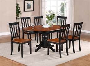 Furniture Kitchen Table 5 Pc Oval Dinette Kitchen Dining Set Table W 4 Wood Seat Chairs In Black Brown Ebay