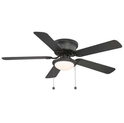 black ceiling fan 52 in hton bay hugger flush mount black ceiling fan