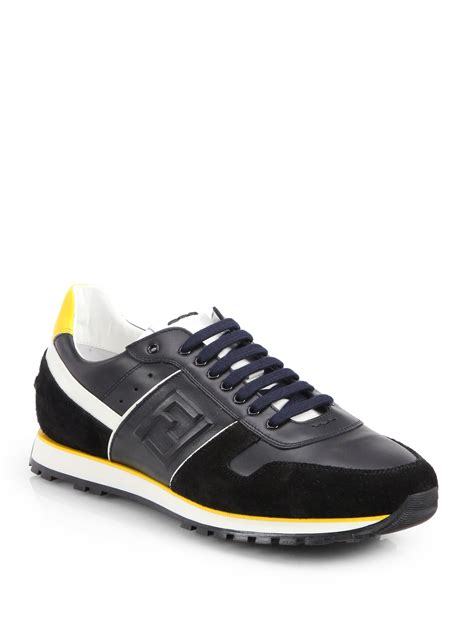 fendi sneakers fendi lace up sneakers in black for lyst