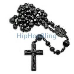 black rosary necklace all black beaded rosary necklace hip hop rosary necklaces all black beaded