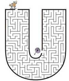 free printable maze for uppercase letter u
