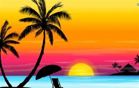 cartoon beach sunset wallpaper