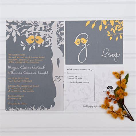 grey and yellow wedding invitations etsy yellow and gray wedding invitations birds in a tree