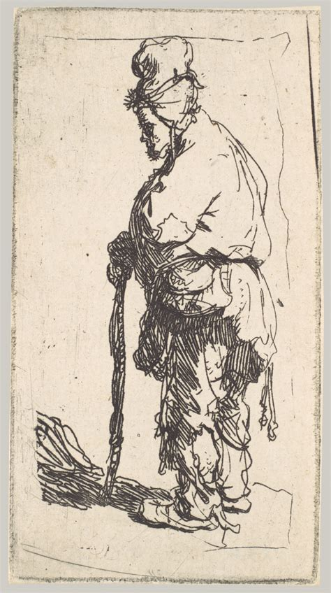 Rembrandt Essay by Beggar Leaning History Stick Facing Rembrandt Rembrandt Etchings