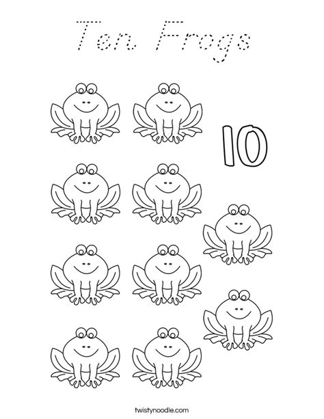 coloring pages of number 10 coloring pages ten frogs coloring page d nealian twisty noodle