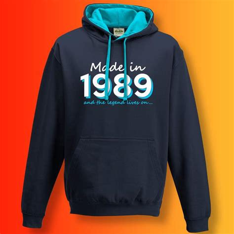 made in 1989 and the legend lives on contrast hoodie sloganite