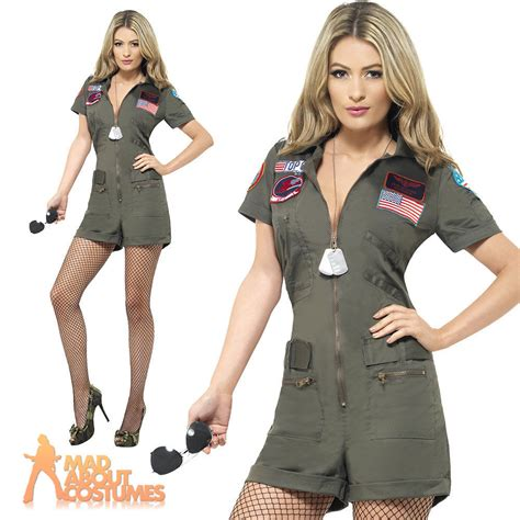 topgun women hairstyle adult ladies top gun aviator playsuit costume 80s pilot