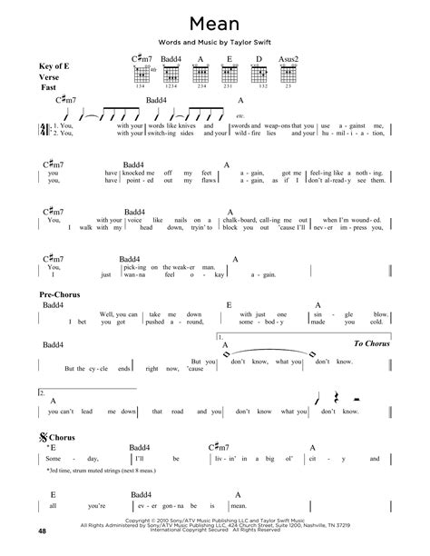 taylor swift mean lyrics and piano chords mean sheet music by taylor swift guitar lead sheet 164730