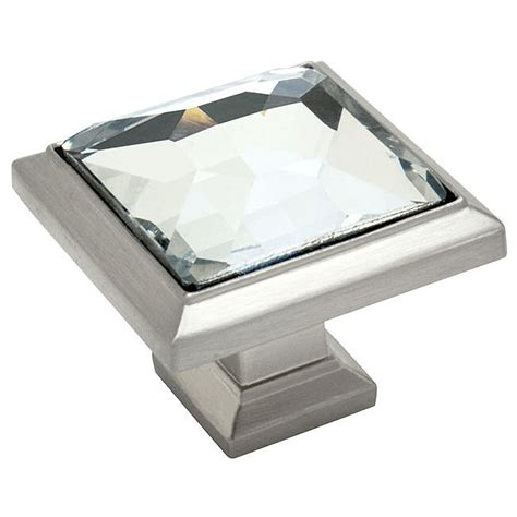 satin nickel clear glass square cabinet knob
