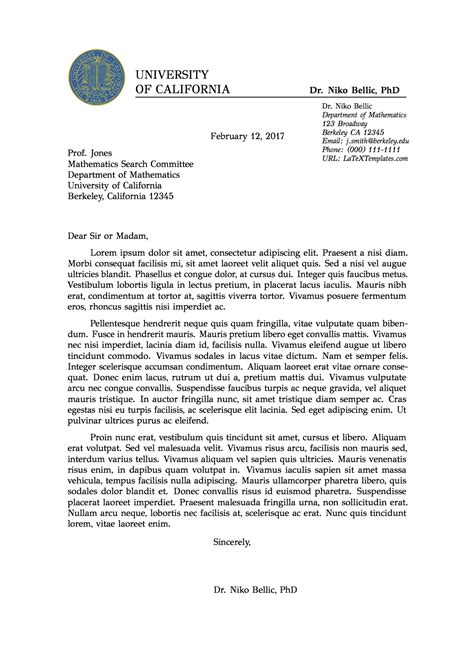 latex templates professional formal letter