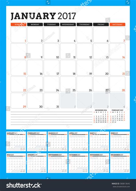 calendar template 2017 year week starts stock vector