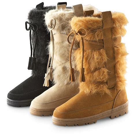 boots with fur s guide gear 174 imitation fur boots 208348