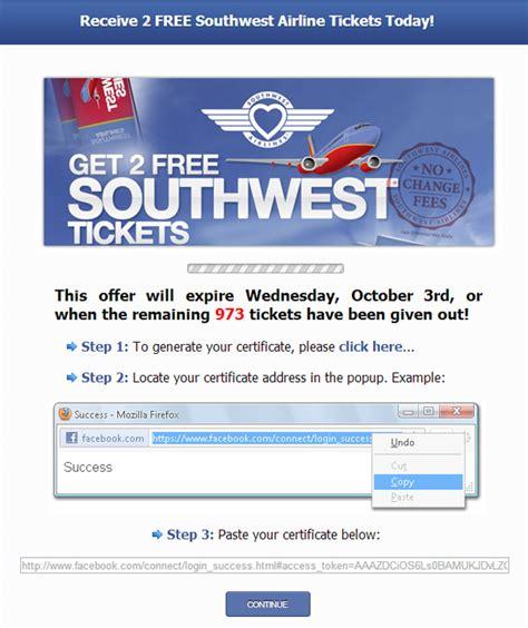 southwest    limited time  facebook scam