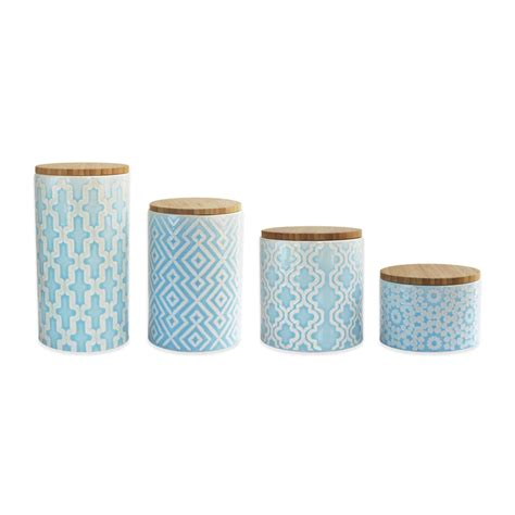 blue kitchen canister set 4 piece arabesque canister set in blue everything turquoise