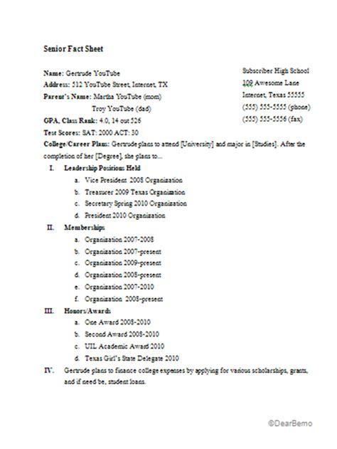 Letter Of Recommendation Information Sheet senior fact sheet exle template dear bemo