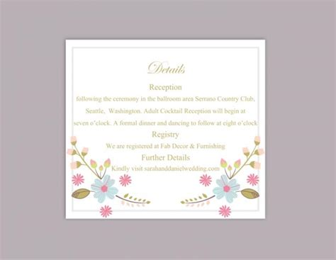 diy wedding direction cards template 2 to a page diy wedding details card template editable word file
