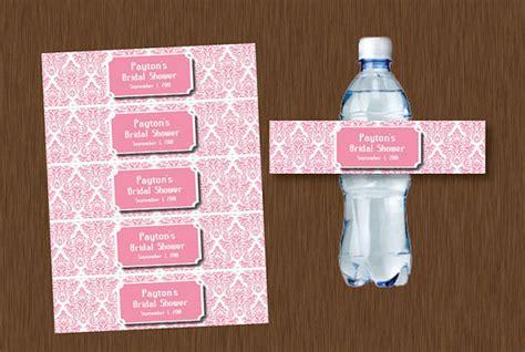 free printable bridal shower water bottle labels diy editable pink damask water bottle labels printable