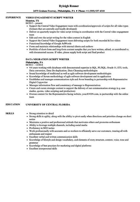 resume script script writer resume sles velvet