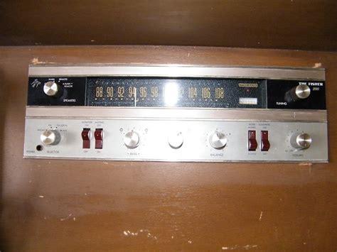 vintage garrard turntable fisher receiver console orange