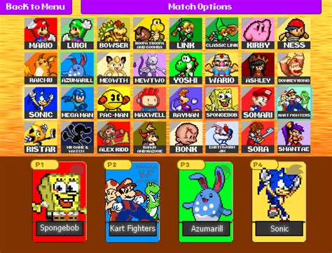 smash bros fan games super smash bros battle royale character select by