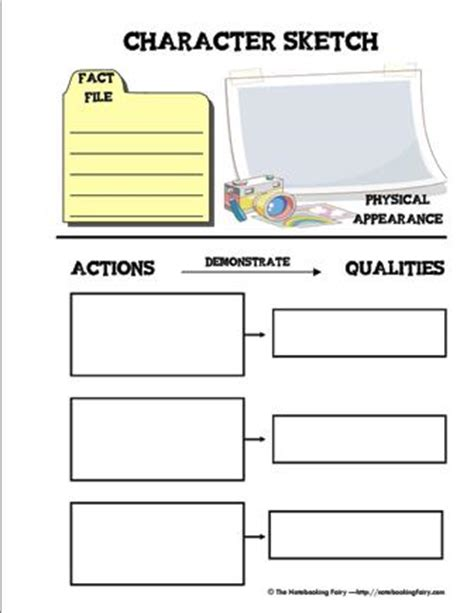 character sketch template character sketch notebooking pages