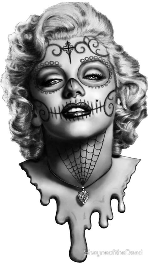 Candy Wall Stickers quot marilyn monroe sugar skull quot stickers by shayneofthedead