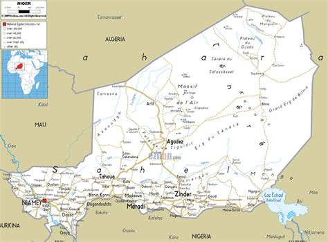political map of niger detailed clear large road map of niger ezilon maps