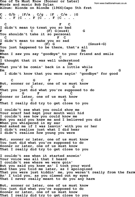 Or Lyrics Bob Song One Of Us Must Sooner Or Later Lyrics And Chords