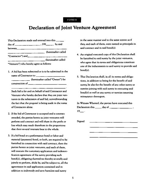 construction joint venture agreement template joint ventures in construction form free