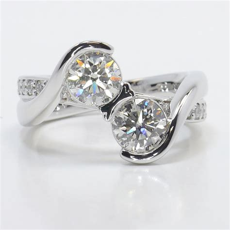 Two Engagement Rings by Custom Two Bezel Bridge Engagement Ring