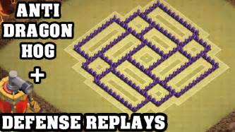Clash of clans town hall 7 th7 war base defense replay anti