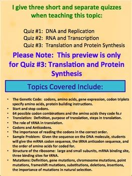 protein quiz translation and protein synthesis quiz or review by