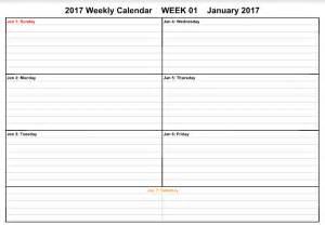 1 week calendar template january 2017 weekly calendar free templates get