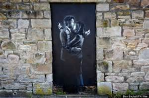 Wall Murals Stencils banksy mobile lovers mural removed from bristol doorway