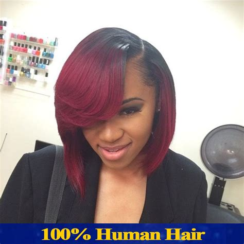 red weave bob bob full lace human hair wigs for black women red ombre