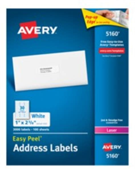 Avery Easy Peel Address Labels For Laser Printers Microsoft Label Templates Avery 5160