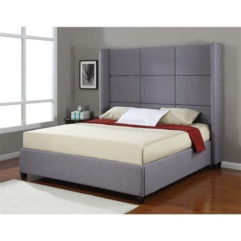 King Bed by Details About Platform Bed Frame Upholstered Headboard Modern King Size Bedroom Nailhead Grey
