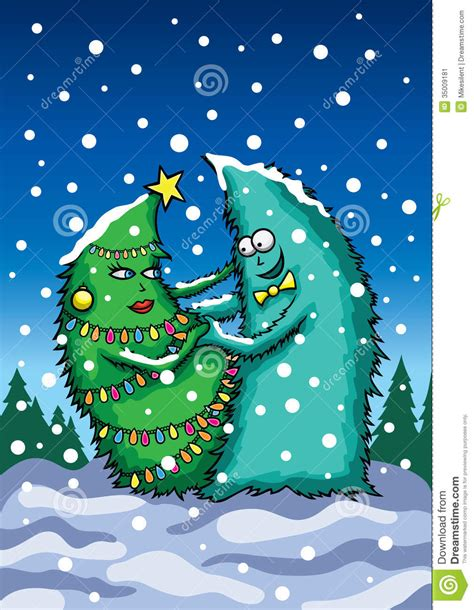 dancing christmas tree picture card with trees stock image image 35009181