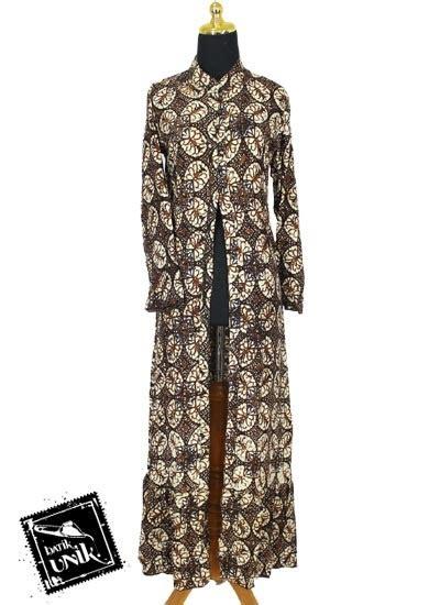 Gamis Batik Soft 1 baju batik gamis jubah motif batik parang sogan soft