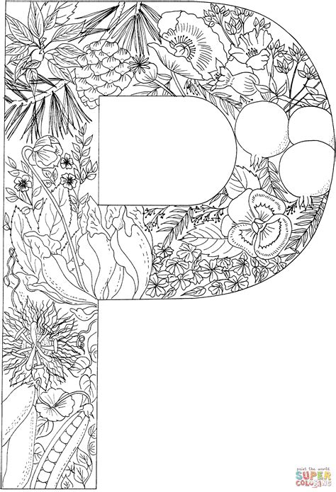 P Coloring Pages by Letter P With Plants Coloring Page Free Printable