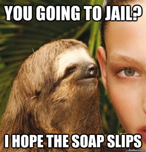 Jail Meme - you going to jail i hope the soap slips rape sloth