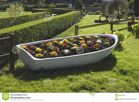 old boat flower bed flowerbed in old boat arundel uk royalty free stock