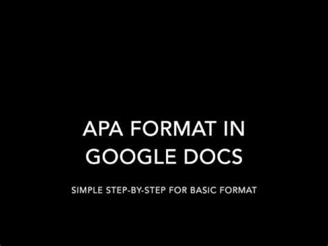 apa format google docs apa format in google docs youtube