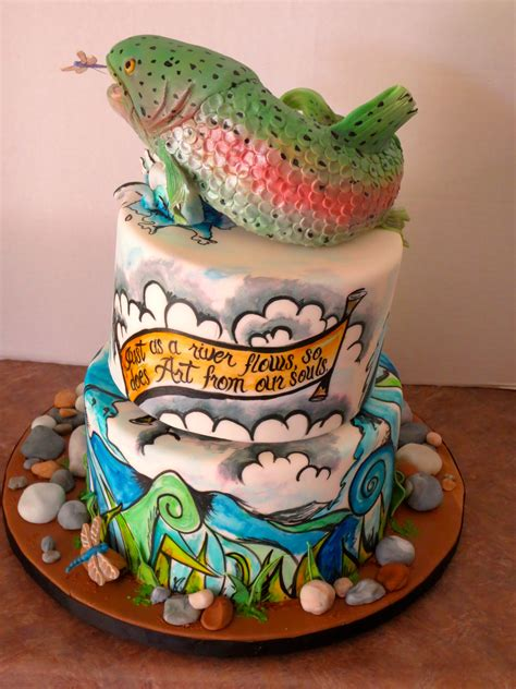 tattoo cake inspired cake rainbow trout on the river