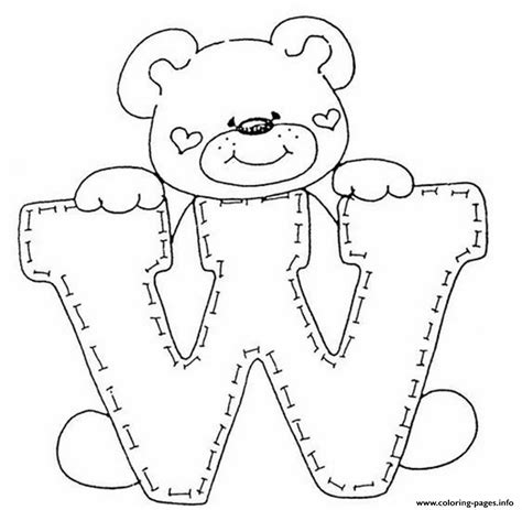 cute letter coloring pages cute bear in w free alphabet sda12 coloring pages printable